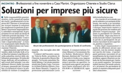 """Il """"Corriere di Chieri"""" parla di noi - Soluzioni per imprese più sicure"""