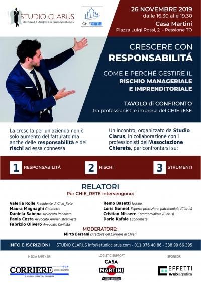 """26 Novembre a Chieri con """"CRESCERE con RESPONSABILITÀ"""""""